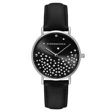 BCBGMAXAZRIA Ladies Quartz Analog Black Genuine Leather Strap Watch