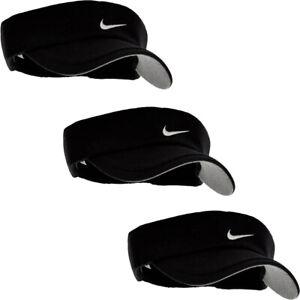 Nike Mens Golf Tennis Visor Cap Sun Sports Caps Black Breathable Elasticated Hat