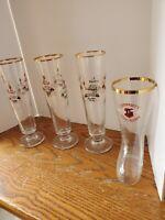 Lindemans Tall Fluted Beer Glassrs Gold Rim/Lohmeyer's Tokyo Japan Boot 🍺glass