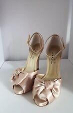 Damen Pumps Schuhe High Heels Peep Toe mit Riemen gold gr. 36 Leder Sohle neu!