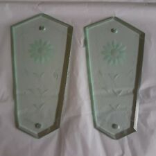 Pair Italian Etched Glass Finger Plates Vintage Salvage Reclaimed Door Furniture