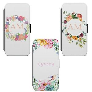Floral Personalised Initials Name FLIP WALLET PHONE CASE COVER FOR HUAWEI