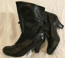 Mono Due Black Mid Calf Leather Lovely Boots Size 7 (525Q)