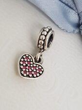 Authentic Pandora Charm Red Pavé CZ Heart Dangle 791023CZR