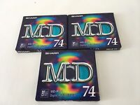 Sharp MD-R 74 Recordable MiniDisc x 3 New and Factory Sealed