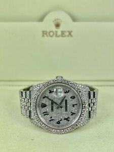 Rolex Datejust 36mm Stainless Steel Custom 16ct Iced Out Diamonds Ref 116234