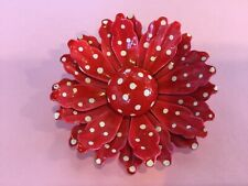 Vintage Red and White Polka Dot Retro Hippy Mod Enamel Metal Flower Pin Brooch