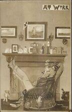 Denis Cowles Man Smoking Pipe AT WORK Real Photo Postcard c1910