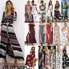 Women's Boho Long Maxi Dress Cocktail Evening Party Beach Holiday Floral Dress