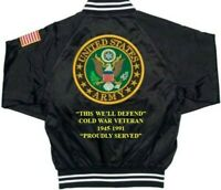 """ARMY COLD WAR VETERAN 1945-1991 ARMY DEFEND """" EMBROIDERED 2-SIDED SATIN JACKET"""