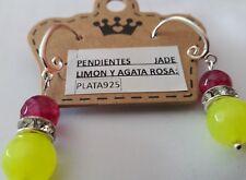 Pendientes Jade Limon y Agata Rosa . Plata 925 .
