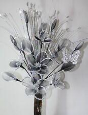 Artificial Flower Arrangement Black White Glitter Nylon Flowers Silver Vase