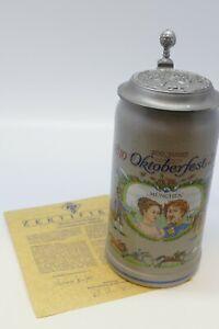 Bierkrug mit Zinndeckel 200 Jahre Oktoberfest Steinkrug - Sammlerkrug