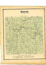 Rare antique 1870 Map of Wayne, Ohio w/family names from Atlas of Columbiana Cty