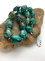 """Chunky Native American Sterling Silver Royston Turquoise Necklace 18"""" 2962"""