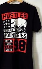 "HUSTLER MEN'S TEE BLACK SIZE MEDIUM T-SHIRT 19""PIT 28""L 100% COTTON MADE IN USA"