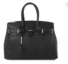 Tuscany leather Handbag Tote Black NWT Made In Italy