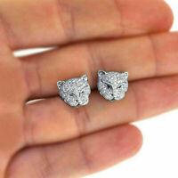 925 Silver Leopard Head Rhinestone Crystal Earrings Animal Stud Ear Jaguar Cat