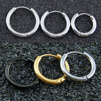Mens Womens Stainless Steel Tube Hoop Ear Ring Stud Earrings Jewelry Punk 1 PAIR