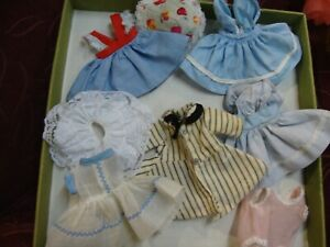 "Lot of 8"" vintage doll clothes, free doll"