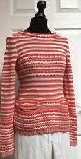 KEW UK/S-M Orange & Ecru 100% Cotton Striped Knitted Tunic Jumper