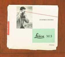 Leitz Leica M3 Instruction Book/93758