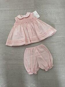 Pretty Originals Baby Girls Pink Dress Set Age 3 Months BNWT