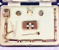 Extremely Rare Gold quartz complete set, Match Safe, watch Fob, hidden photo etc
