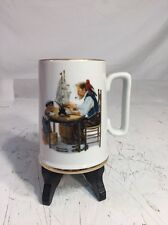 """Vintage 1985 Norman Rockwell """"For A Good Boy"""" Coffee Cup Mug with Gold Rim"""