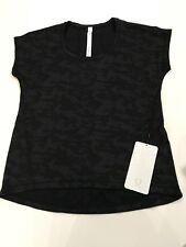 NWT Lululemon Miles Ahead SS *Sz 4* Black Camouflage Short Sleeve Run Camo Top