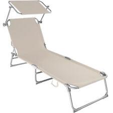 Chaise longue de jardin pliante transat bain de soleil + pare soleil beige