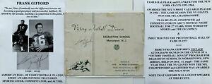 HALL FAME NY GIANTS FOOTBALL HALFBACK FRANK GIFFORD SIGNED VINTAGE PROGRAM 1956!