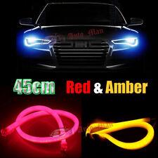 2x 45cm Red Amber Tube Flexible LED Strip DRL & Turn Signal Switchback Universal