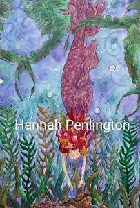 Print by Hannah Penlington, mermaid hunter, children art, fantasy story painting