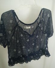 Abercrombie & Fitch Kids Girls Top sz XL Sheer Crop bell Sleeve Floral Boho fit