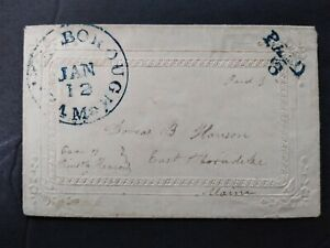 Maine: Vassalborough 1850s Ladies Stampless Cover, Blue CDS & PAID 3 Kennebec Co