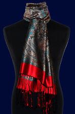 78068 LORENZO CANA - Marken Herrenschal 100% Seide Rot Grau Bronze Tuch Neu
