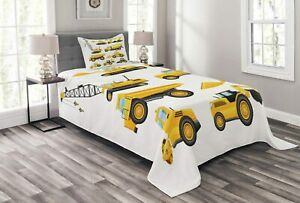 Ambesonne Nursery Bedspread, Abstract Images of Construction Vehicles Machinery
