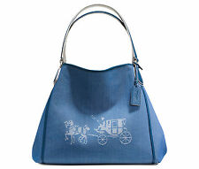 COACH Shoulder Tote Denim Blue HORSE CARRIAGE EDIE Hobo CANVAS Chalk White NWT