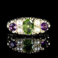 SUFFRAGETTE RING AMETHYST PERIDOT PEARL 9CT GOLD RING