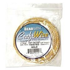18GA Beadsmith Twisted Square Gold Color Non Tarnish Wire 8FT