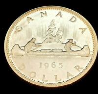 1965 Uncirc $1 Canada Silver Dollar .800 Silver • PL Type 2 • Small Bead Blunt 5
