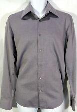 HUGO BOSS Men's Long Sleeve Button-Front Gray Pincheck Dress Shirt:15.5 EU 39