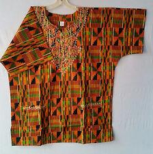 Men Clothing African Kente Print Dashiki Top Ethnic Shirt Orange Green Plus Size