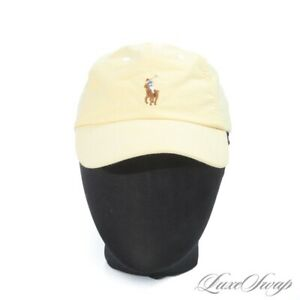 NWT Polo Ralph Lauren Pale Lemon Yellow Garment Washed Dad Baseball Hat Cap NR