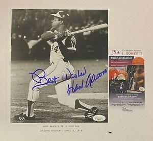 Hank Aaron Signed 715th Home Run Image 8x10 B&W Photo Rare Bold Signature JSA