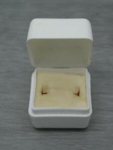 Vintage Branded White & Cream Plastic Miniature Ring Box, 3.1cm