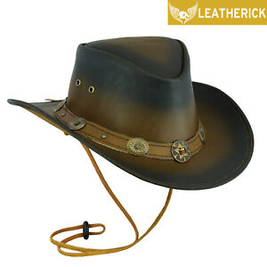 Western Australian Cowboy Hat Distressed Brown Real Leather Bush Hat Top Quality