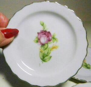 5 Matching Butter Pat-Coaster Plates PINK ROSE Scalloped Rim Gold Trim-Japan-