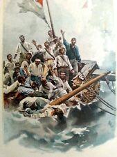 les naufragés du Vengeur sur un radeau de fortune  gravure ancienne en couleur